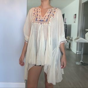 NWOT free people soft embroidered gauze tunic